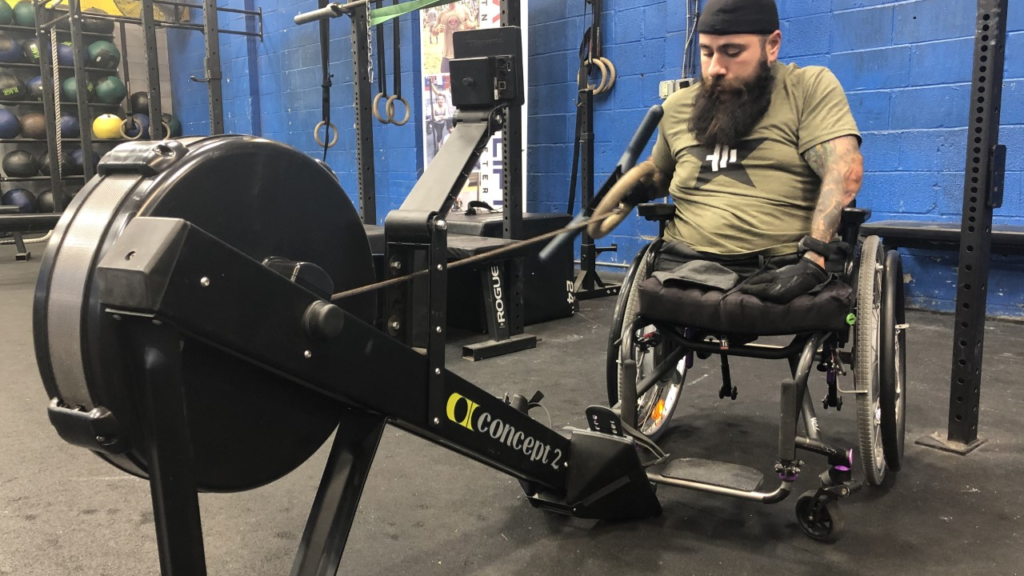 Veteran on rowing machine