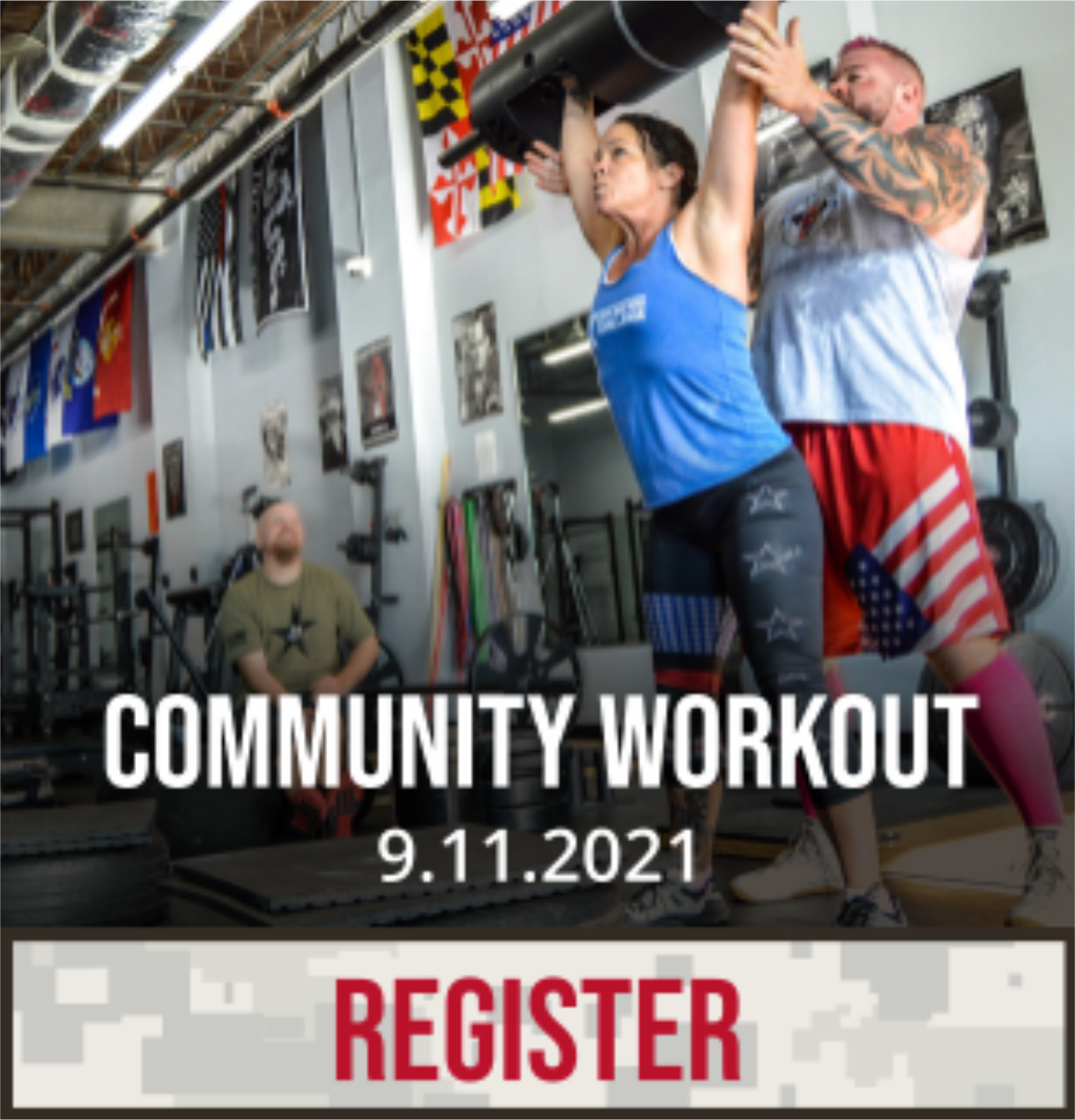 Community Workout 9/11/21. Click to register.